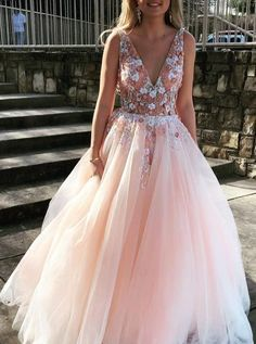 A-Line V-Neck Floor-Length Pink Prom Dress with Appliques Beading - stylish vneck pink long prom dress with appliques beading Source by tidetell - Prom Dresses Long Pink, Princess Prom Dresses, Top Wedding Dresses, Backless Prom Dresses, Tulle Prom Dress, Wedding Dress Trends, Cheap Prom Dresses, Prom Party Dresses, Dresses For Teens