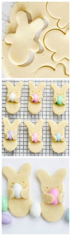 "Easter Bunny Cookies ~ Adorable Easter bunny cookies that look like they're carrying Easter eggs. Your favorite sugar cookie recipe, Jordan almonds, and a cookie cutter. cupcakes for kids Adorable Easter Bunny ""Hug"" Cookies - Fun Loving Families Easter Cookies, Easter Treats, Fun Cookies, Holiday Cookies, Brownie Cookies, Super Cookies, Baking Cookies, Decorated Cookies, Holiday Desserts"