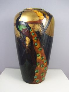 Art Nouveau Pottery Peacock Vase