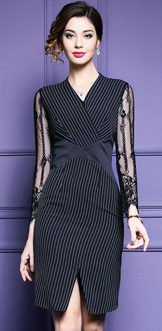 Work Stripe V-Neck Lace Stitching Slit Bodycon Dress #bodycondress