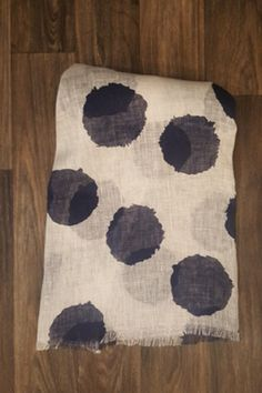"Indigo Blue Circle Print Linen Scarf  Gorgeous white linen scarf with indigo blue circle pattern. Lightweight and airy look. Perfect to accent so many outfits!  28"" x 70"" 100% Linen FREE SHIPPING!!!  Shop:"