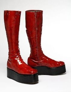 The red platform boots worn by David Bowie during the Aladdin Sane tour, 1972…