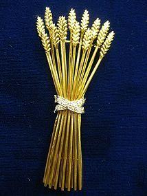 Tiffany  Co. diamond and 18k gold sheaf of wheat pin