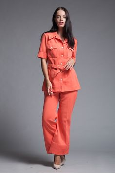 ebe4369ad7e safari flare pants set belted orange contrast stitching vintage 70s MEDIUM  M Vintage Clothing Online