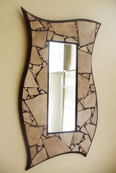 Gorgeous Curvy Mosaic Mirror Tan Ceramic Tile by SheilaWeilStudios, $149.00