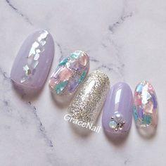Shell Decorations, Almond Nails, Nail Arts, Pedi, Cute Nails, Nail Designs, Pearl Earrings, Polish, Cosmetics
