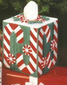 DIGITAL PATTERN  Christmas Candy Cane Tissue Box Cover   7 ct Plastic Canvas