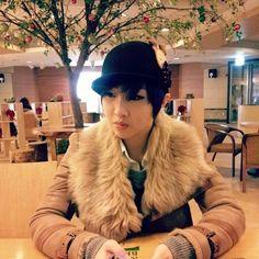 Minzy from 2NE1 <3 wearing a cute reindeer hat . I <3 her look