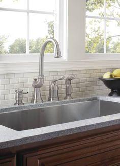 moen ca87002 one handle high arc kitchen faucet from the shop moen muirfield mediterranean bronze 1 handle high arc