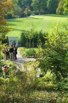 Goethes Gartenhaus.  Blick in den Park an der Ilm.