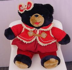 2006 SNOWFLAKE TEDDY Black Bear Girl Christmas Plush DAN DEE Jacket Dress