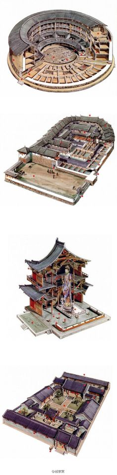 Godlike hand drawing draft, Chinese classical architecture cutaway hand from Mr. Li Ganlang drawing