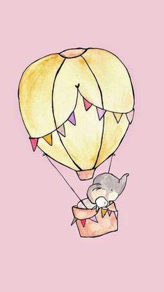 Fly Away Pink Nursery Art child wall art boy nursery girl nursery bunny rabbit elephant Bunny Nursery, Girl Nursery, Girl Room, Nursery Ideas, Nursery Decor, Cute Illustration, Watercolor Illustration, Illustration Children, Elephant Illustration
