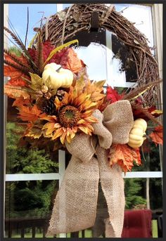 Fall Wreath with dried sunflower white pumpkins by DesignsbyKarrie, $55.00