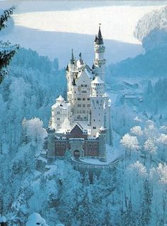 Neuschwanstein - what Cinderella's castle is based off of. Crystal vision in ice and snow. Fragile and magical.