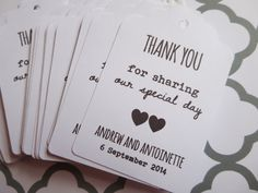 50 Thank You Tags Gift Wedding Favor Shower Labels Hang