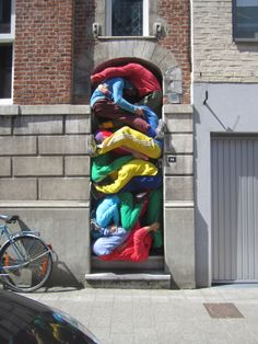 Street Art performance by Austrian Willi Dorner, Hasselt, eastern province of Limburg, Belgium, 2012 #festival