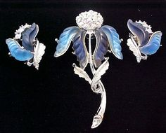 $20 (was $21) - Blue Iris Lucite Flower Brooch Earrings Aurora Borealis Thermoset Lucite