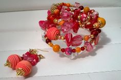 Boho Bracelet a Beautiful Eclectic Mix of Red Hot Colours a Stunning Mix of Semi Precious Stones and Handcrafted Beads on a Memory Wire Wrap by STRICTLYBOHOltd on Etsy