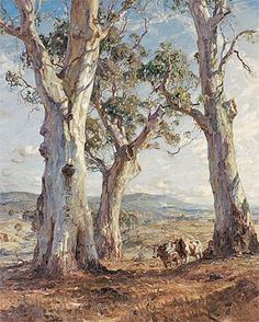 "Hans Heysen -""The Three Gums"" Oil on Canvas 160 x cm Ballarat Fine Art Gallery Watercolor Landscape, Landscape Art, Landscape Paintings, Landscapes, Australian Painting, Australian Artists, Tree Art, Artist Art, Amazing Art"