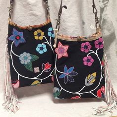 Antique Sioux Indian beading with leather fringe Bucket shoulder bags