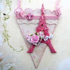 Shabby Chic Victorian Cone Eiffel Tower Ornament