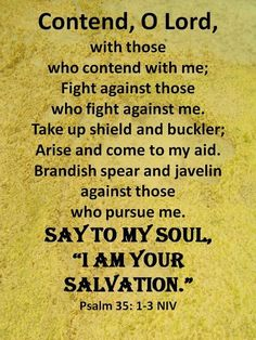 """Psalm 35:1-3 (NIV) - Contend, Lord, with those who contend with me; fight against those who fight against me.Take up shield and armor; arise and come to my aid. Brandish spear and javelin against those who pursue me.Say to me, """"I am your salvation."""""""