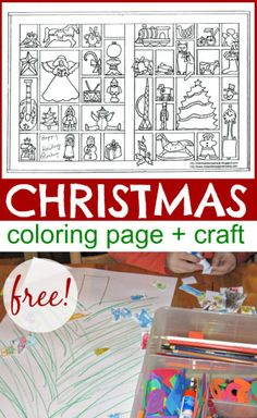 Christmas coloring page with ornaments, toys and Christmas tree. Free printable. and craft extension.