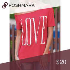 Cute LOVE top Off the shoulder lightweight top. Also in gray, black and blue in separate listing. Tops Tees - Short Sleeve