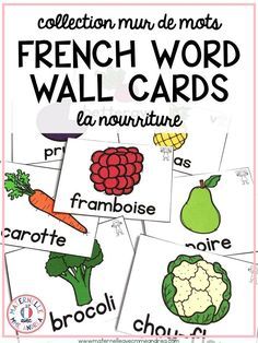 64 different FRENCH Food word wall cards, in both colour and black & white. Use these to teach and review food-themed vocabulary en français with your elementary French students, or as a support for their writing. Each card also includes a symbol to show French Sentences, French Verbs, French Teacher, Teaching French, High School French, French Education, French Classroom, French Resources, Vocabulary Cards