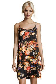 Boutique Bella Satin Floral Cage Slip Dress $23.99