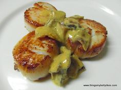 Seared Scallops with Bacon Mustard Sauce.  These are some of my favorite things!  (Oh uh - put that song in your head, didn't I.)