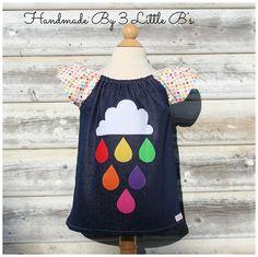 "Handmade By 3 Little B's ""Rainbow in the Sky"" Sparkling Denim Dress, Sizes 2,3,4 - madeit.com.au"