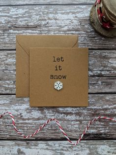 Items similar to Snow Christmas card – let it snow – kraft Christmas card – snowflake card – card for mum – card for dad – Christmas cards for friends on Etsy – Christmas DIY Holiday Cards Company Christmas Cards, Simple Christmas Cards, Homemade Christmas Cards, Xmas Cards, Handmade Christmas, Homemade Cards, Christmas Diy, Button Christmas Cards, Christmas Items