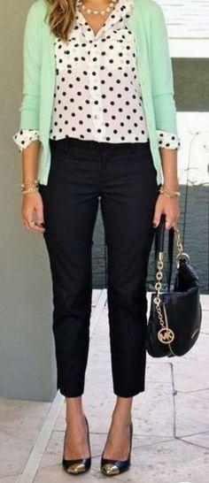 Cute Polka Dot Shirt With Black Pant, Belly Shoes & Handbag