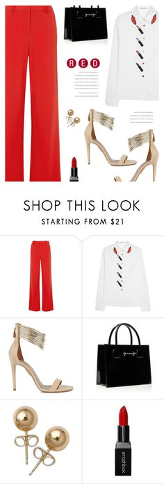 """""""The Red Trousers"""" by sharmarie ❤ liked on Polyvore featuring Alice + Olivia, Aquazzura, Bling Jewelry and Smashbox"""