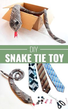 DIY Christmas Gifts for Kids - Homemade Christmas Presents for Children and Christmas Crafts for Kids | Toys, Dress Up Clothes, Dolls and Fun Games | Step by Step tutorials and instructions for cool gifts to make for boys and girls | DIY-Snake-Tie-Mr-Wiggles | http://diyjoy.com/diy-christmas-gifts-for-kids