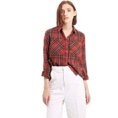 Topshop Tartan Plaid Shirt ($40) ❤ liked on Polyvore featuring tops, red, red shirt, cut out shirts, long sleeve shirts, red cotton shirt and long sleeve tops