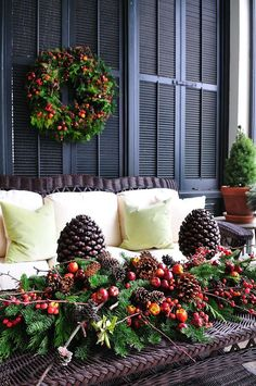 Adding greenery to your outdoor living space is the perfect touch for the holiday season! Christmas Porch, Christmas Love, Outdoor Christmas, All Things Christmas, Christmas Holidays, Merry Christmas, Thanksgiving Holiday, Fruits Decoration, Xmas Decorations