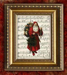 Print a vintage Christmas image over the sheet music to a favorite Christmas song