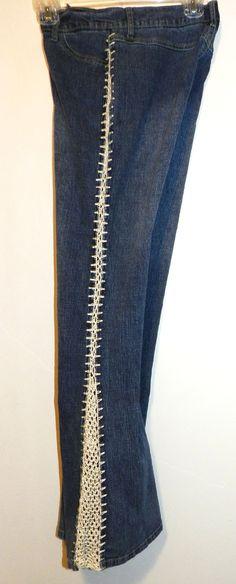 Womens Retro crochet insert denim jeans