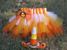 Girls Candy Corn TuTu with Matching Headband and bow (Fits Newborn - 12 Month). $20.00, via Etsy.
