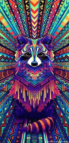 Racoon spirit rainbow