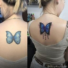 half sleeve tattoos for men clouds half butterfly tattoo Butterfly Tattoo Cover Up, Butterfly Tattoo Meaning, Butterfly Tattoo On Shoulder, Butterfly Tattoos For Women, Butterfly Tattoo Designs, Watercolor Butterfly Tattoo, Tattoo Girls, Tattoo Couples, Bad Tattoos