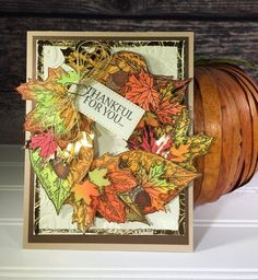 Thankful For You card - Fall Foil Wreath card - #BrutusMonroe and #Thermoweb