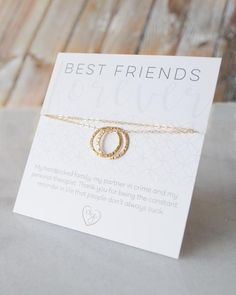 Best Friend Necklace by Olive Yew. This friendship necklace is a little sentimental with a funny twist. We know you and your friends have a wicked sense of humor, so we made a necklace as connected as the two of you.