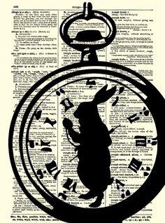 Alice in Wonderland White Rabbit, Im Late Alice in Wonderland Pocket Watch Dictionary Art Print, White Rabbit Art Print via Etsy