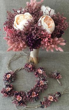 Wedding Dried Flower Bouquet Set - Bride Bouquet, Bride Crown, Bride Corsage, Boutonniere (4 Pieces)