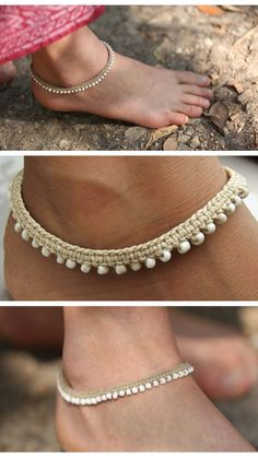 Macrame boho anklets.. go check these beauties out in this etsy store #diyankletsmacrame