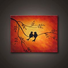 Original Abstract Painting. Contemporary / Modern Fine Art Landscape Painting -LOVE BIRDS- Free Shipping inside US. Valentines Day gift.